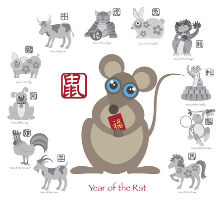 Chinese New Year of the Rat Color with Twelve Zodiacs with Chinese Symbol for Rat Ox Tiger Dragon Rabbit Snake Monkey Horse Goat Rooster Dog Pig Text in Circle Grayscale Illustration Vector