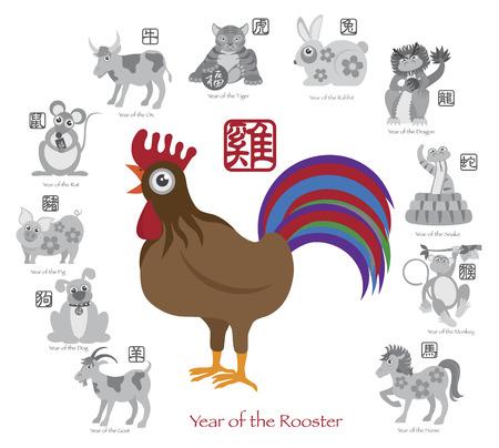 year of rooster: A�o Nuevo Chino del Gallo en color con doce zodiacos con el s�mbolo chino para la Rata Buey Tigre Conejo Drag�n Serpiente Caballo Cabra Mono Gallo Perro Cerdo Texto en C�rculo de escala de grises Ilustraci�n Vectores