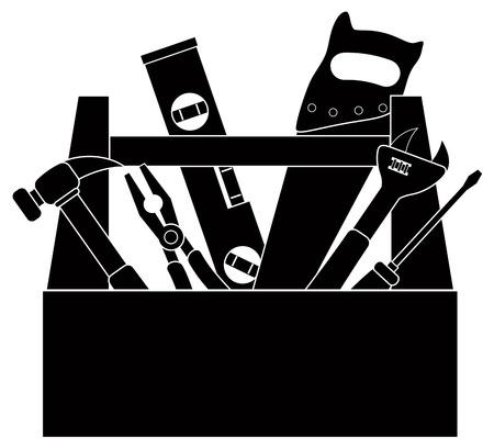 건설 목공 도구 망치 레벨 렌치 펜치 나무 톱 스크류 드라이버 도구 상자에서 격리 된 흰색 배경 그림에서 검정색