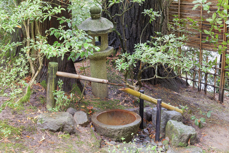 tourist feature: Tsukubai Water Fountain with Stone Basin and Bamboo Spigot and Stone Lantern at Portland Japanese Garden