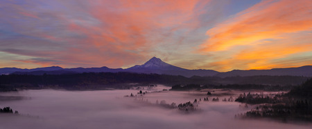 mt hood: Pre Sunrise Over Mount Hood with Fog Over Sandy River from Jonsrud Viewpoint in Oregon Panorama