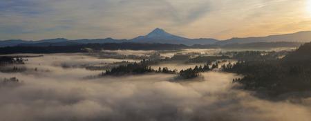 cascade range: Sunrise over Mount Hood and Foggy Sandy River in Oregon Panorama