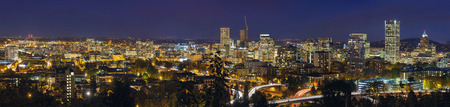 Portland Oregon Downtown Cityscape and Freeway at Evening Blue Hour Panorama photo