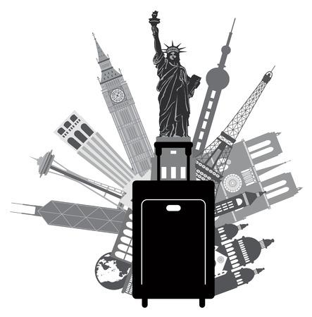 ビッグ ベンの像があり、自由エッフェル塔 Hong Kong 上海ニューヨーク ロンドン パリ アメリカ合衆国シアトル San Francisco グレースケールの図はのよ