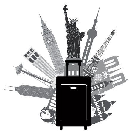 Luggage for World Travel with Iconic Places Like Big Ben Statue of Liberty Eiffel Tower Hong Kong Shanghai New York London Paris United States Seattle San Francisco Grayscale Illustration
