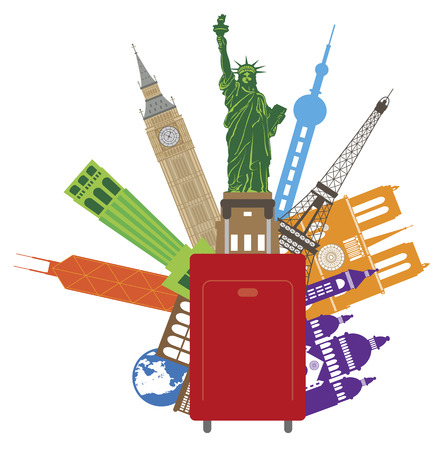 Luggage for World Travel with Country of Places from Europe Asia United States Color Illustration Ilustração