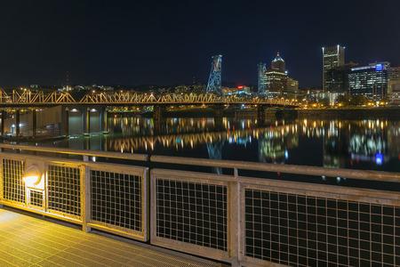 eastbank: Portland Oregon Downtown Skyline and Hawthorne Bridge View from Eastbank Esplanade at Night