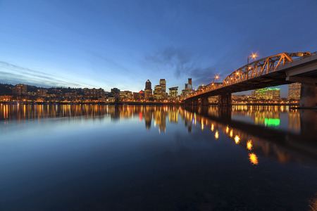 hawthorne: Portland Oregon Downtown City Skyline Along Willamette River by the Hawthorne Bridge at Evening Blue Hour