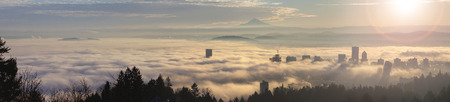 portland oregon: Rolling Thick Fog Over City of Portland Oregon and Mt Hood at Sunrise Panorama