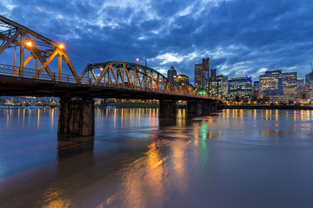 Hawthorne Bridge Over Willamette River to Portland Oregon Downtown During Evening Blue Hour