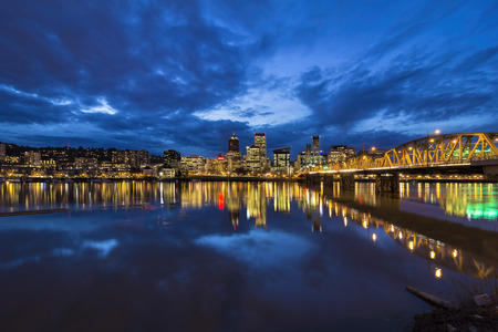 hawthorne: Hawthorne Bridge Over Willamette River to Portland Oregon Downtown City Skyline During Evening Blue Hour