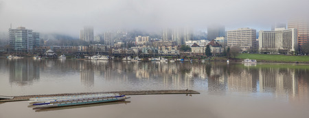 eastbank: Marina by Willamette River at Portland Oregon Downtown Waterfront on a Foggy Morning