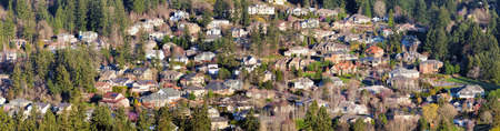 suburbs: Residential Homes in North American Suburbs Aerial View Panorama