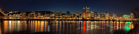 portland oregon: Portland Oregon Downtown Waterfront City Skyline Along Willamette River Night Scene Panorama