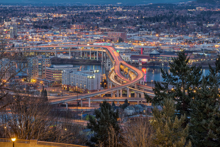blue hour: Portland Oregon Marquam Freeway Light Trails with Eastside City Lights during Evening Blue Hour Stock Photo