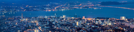 George Town Penang Malaysia Aerial Scenic view from Penang Hill during Evening Blue Hour Panorama Stock Photo