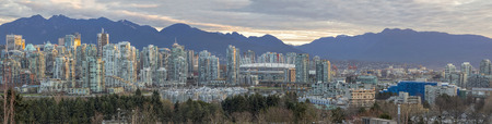 Vancouver British Columbia Canada City Skyline Along False Creek During Sunrise Panorama