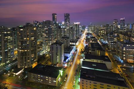Vancouver British Columbia Canada Cityscape langs Robson Street at Night Aerial