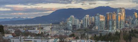 british columbia: Vancouver British Columbia Canada City Skyline and Granville Island Bridge During Sunrise Panorama