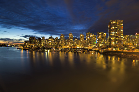 blue hour: Vancouver British Columbia Canada City Skyline by Marina at Blue Hour Twilight