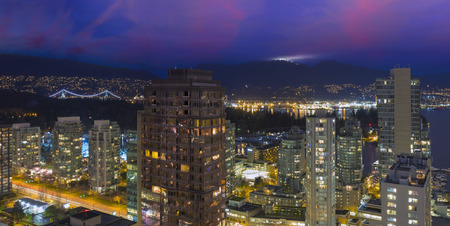 grouse: Vancouver British Columbia Canada Cityscape with Street Light Trails Stanley Park Grouse Mountain View at Dusk