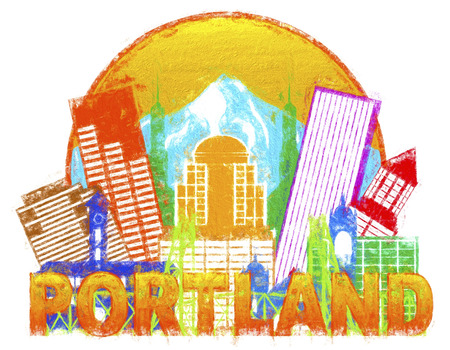 pacific northwest: Portland Oregon Outline Silhouette with City Skyline Downtown Circle Color Text Isolated on White Background Impressionist Illustration