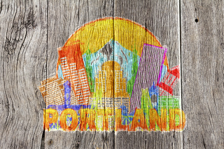 pacific northwest: Portland Oregon Outline Silhouette with City Skyline Downtown Circle Color Text on Wood Background Impressionist Illustration