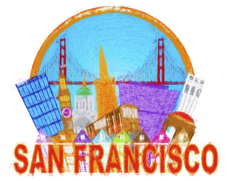 nob hill: San Francisco Cailfornia Abstract Downtown City Skyline with Golden Gate Bridge and Cable Car Isolated on White Background Impressionist Illustration