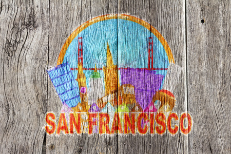 victorian gates: San Francisco Cailfornia Abstract Downtown City Skyline with Golden Gate Bridge and Cable Car Isolated on White Background Impressionist Wood Background Illustration
