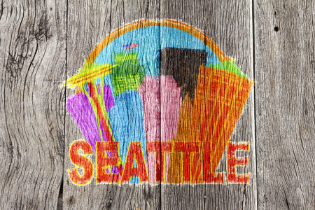 seattle: Seattle Washington Abstract Downtown City Skyline in Circle Isolated on White Background Impressionist Wood Background Illustration