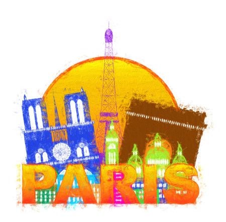 파리 프랑스 도시 스카이 라인 개요 실루엣 색상 흰색 배경에 고립 된 동그라미 인상파 그림