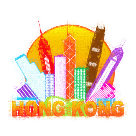 hongkong: Hong Kong City Skyline in Circle Color Outline Isolated on White Background Impressionist Illustration