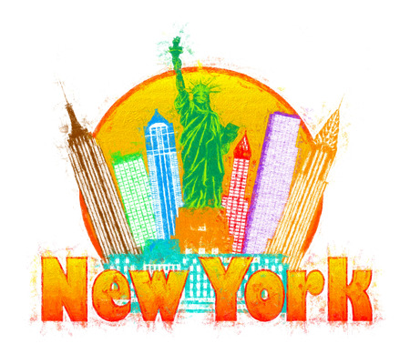 New York City Colorful Skyline with Statue of Liberty in Circle Outline with Text Impressionist Illustration
