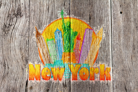 New York City Colorful Skyline with Statue of Liberty in Circle Outline with Text Impressionist on Wood Background Illustration