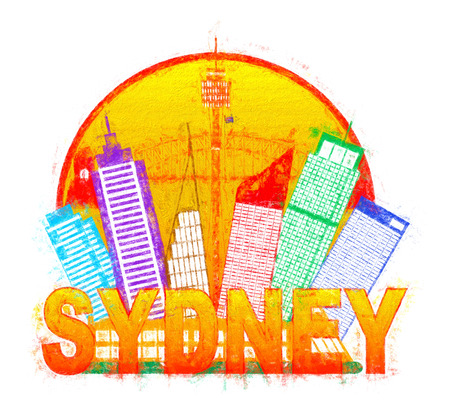 sydney skyline: Sydney Australia Skyline Landmarks Harbour Bridge Color in Circle Isolated on White Background Impressionist Illustration