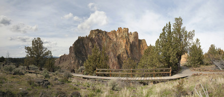 smith rock: Hiking Trails at Smith Rock State Park in Terrebonne Oregon Panorama Stock Photo