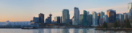 city park skyline: Vancouver British Columbia Canada City Skyline View from Stanley Park along False Creek at Sunrise Panorama