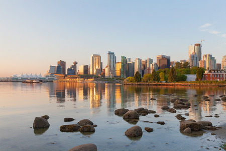 Vancouver British Columbia Canada City Skyline by the Harbor View from Stanley Park along False Creek at Sunrise