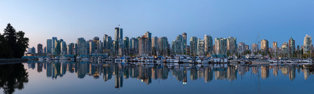 Vancouver British Columbia Canada City Skyline by the Harbor View from Stanley Park along False Creek at Sunrise Panorama