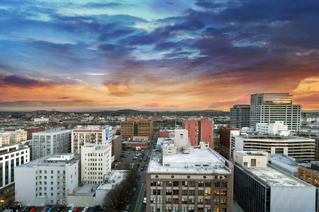mt  hood: Sunset Over Portland Oregon Downtown Cityscape with Mt Hood in the Distant Stock Photo