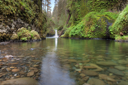 gorge: Punch Bowl Falls at Eagle Creek Trails in Columbia River Gorge National Scenic Forest Stock Photo