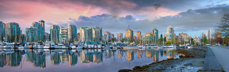 Vancouver British Columbia Canada City Skyline and Marina at Stanley Park during Colorful Cloudy Sunrise Panorama