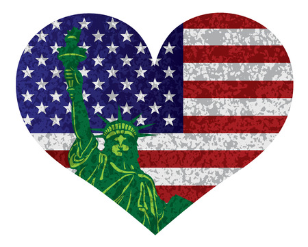 Fourth of July USA Flag and Statue of Liberty in Heart Shape Outline with Texture Illustration