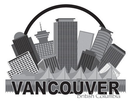 vancouver city: Vancouver British Columbia Canada City Skyline Inside Circle Grayscale Illustration Illustration