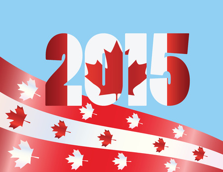 canada day: Canada Day 2015 with Red Maple Leaf Flag Symbols on Blue Background