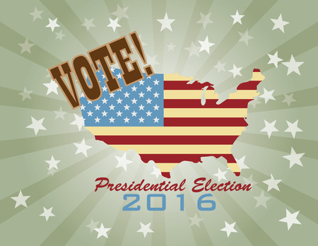 Vote Presidential Election 2016 with USA Flag in Map Silhouette Retro Illustration Ilustracja
