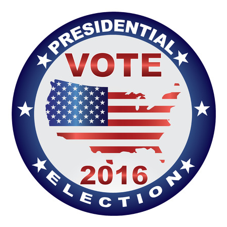 presidential: Vote Presidential Election 2016 with USA Flag in Map Silhouette Button Illustration Illustration