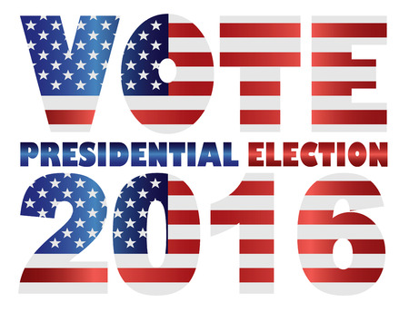 Vote 2016 Presidential Election with American USA Flag Silhouette Illustration