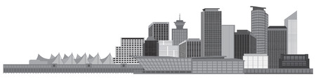 Vancouver British Columbia Canada City Skyline Grayscale Illustration