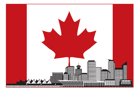 vancouver city: Vancouver British Columbia Canada City Skyline Silhouette in Canadian Flag Illustration
